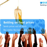 Adbusting Barclay: Hände strecken sich nach Lebensmitteln, Text: Betting on food prices