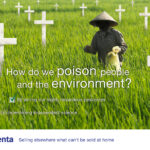 Adbusting syngenta: Bauer verteilt Pestizid auf Feld, Text: How do we poison people and the environment?